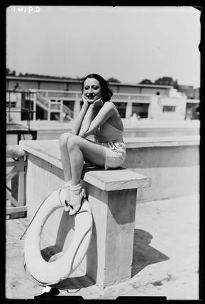 Woman at a swimming baths, 1934.