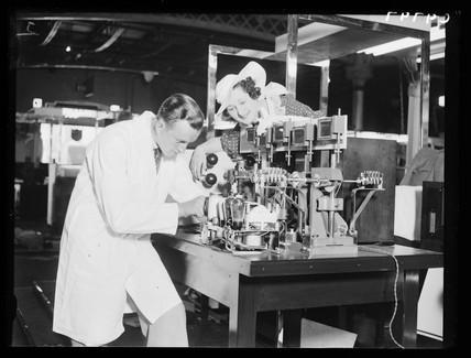 Demonstrating a radio testing device, Radiolympia, London, 1934.