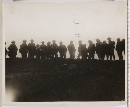 'Reserve troops waiting to move up to the forward area', France, WWI, 1916.
