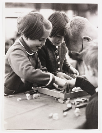 Children using Cuisenaire maths education rods, 1962.