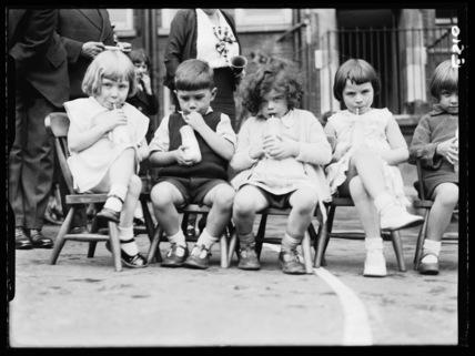 Schoolchildren drinking milk,1 October 1934.