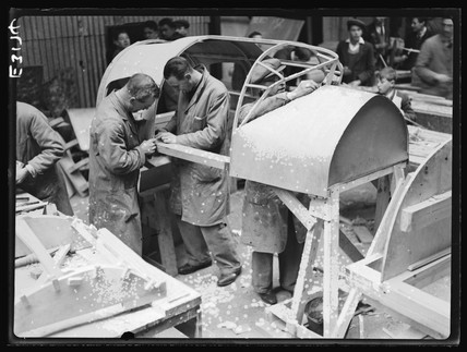 Workers in an aircraft factory, 2 April, 1935.
