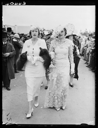 Two women attending Royal Ascot, 1935.