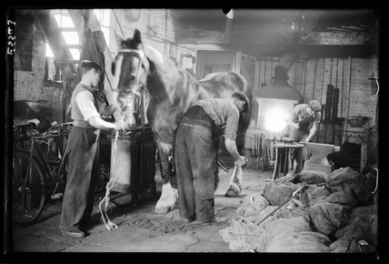 Blacksmiths at work, 1935.
