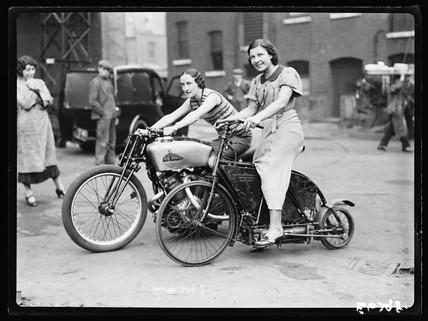 Two women on motorbikes, 1935.
