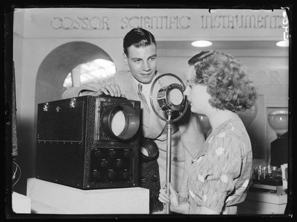 Demonstrating the Cossor oscillograph, Radiolympia, London, 1936.