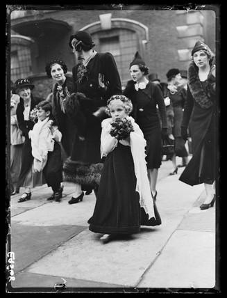 Bridesmaid at a wedding, 1936.
