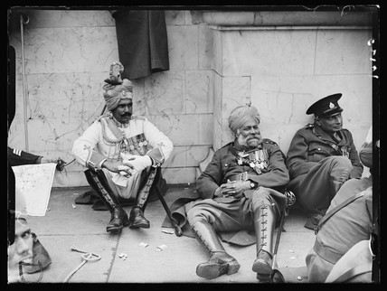 Three Indian soldiers, coronation of King George VI, London, 12 May, 1937.
