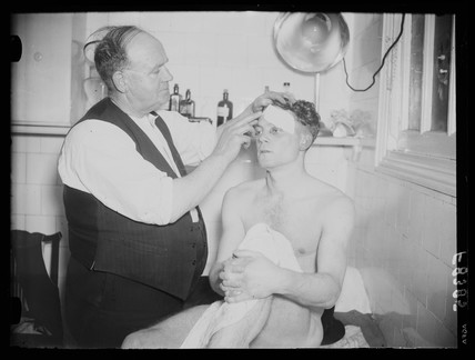 Injured footballer, 1938.