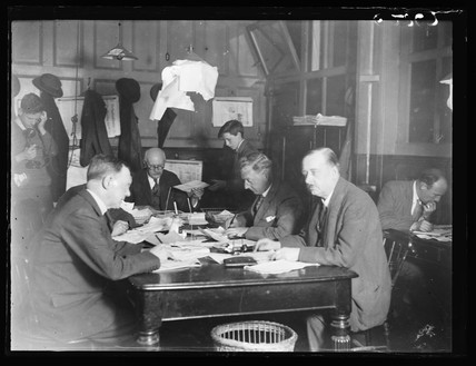 The subs room, Daily Herald newspaper offices, London, c 1928.