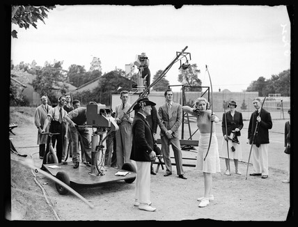 Television outside broadcast from an archery range, 13 July 1938