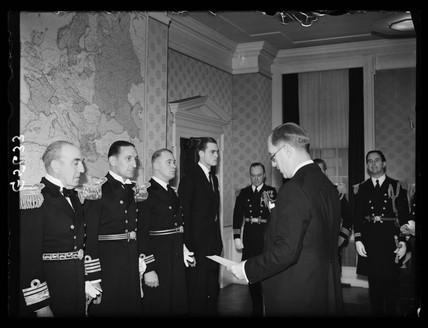 Naval officers receiving an award, 1938.