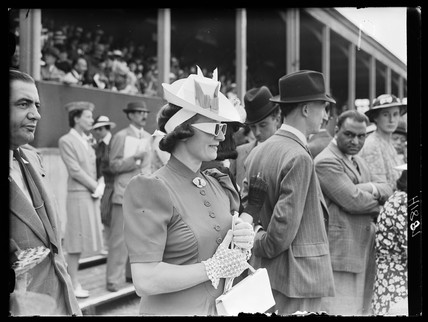 Woman wearing sunglasses, Royal Richmond Horse Show, June 1939.