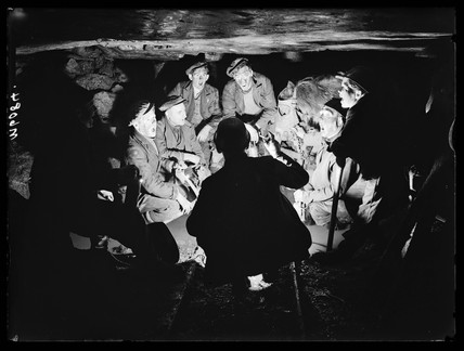 Welsh miners singing carols, 1943.