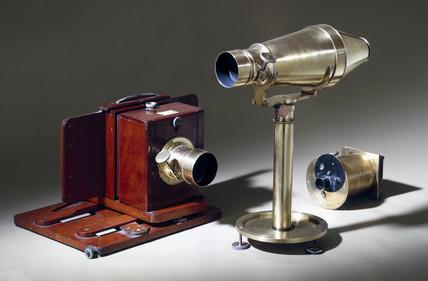 Three early cameras, c 1860.