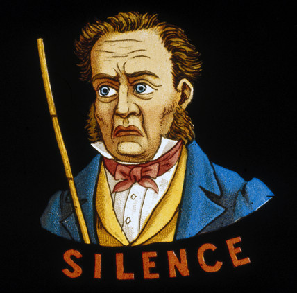 'Silence', magic lantern slide, 19th century.