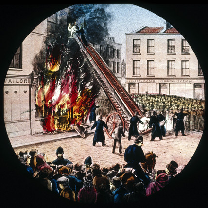 Fire in a building, mid 19th century.
