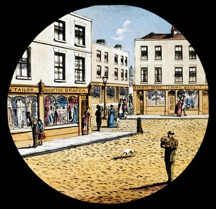 Street scene, late 19th century.
