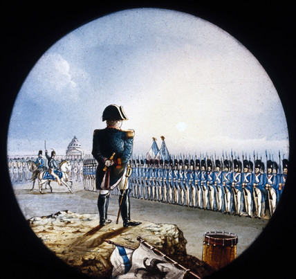 A general surveying his army, mid 19th century.