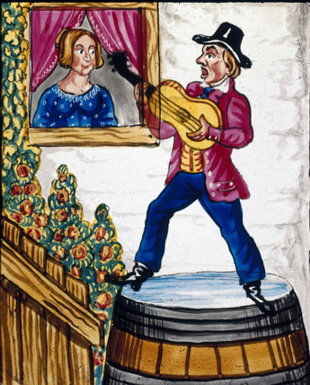 Singing man with a guitar, mid 19th century.