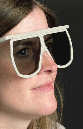 Woman wearing Imax 3D glases, 2003.