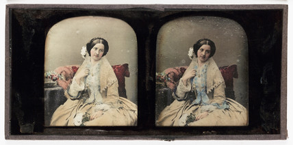 Stereo-daguerreotype of a young woman, c 1853.