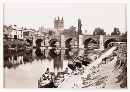 'Hereford, The Old Wye Bridge and Cathedral No.1', c 1880.