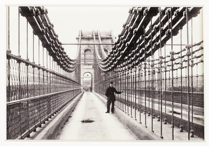 'Bangor, View on Suspension Bridge', c 1880.
