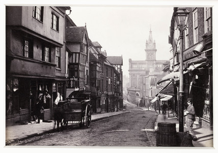 'Shrewsbury, Street View - Pride Hill and New Market', c 1880.
