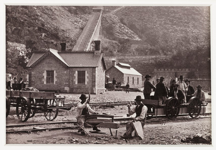 'Llanberis, Quarrymen and Velocipedes', c 1880.