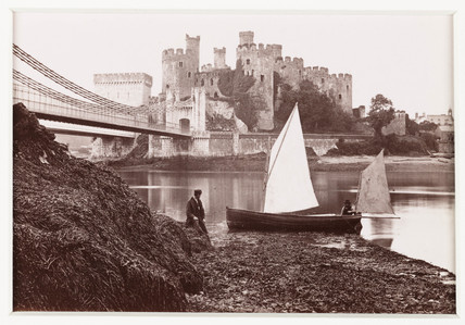 'Conway Castle and Suspension Bridge, from the Landing Place', c 1880.