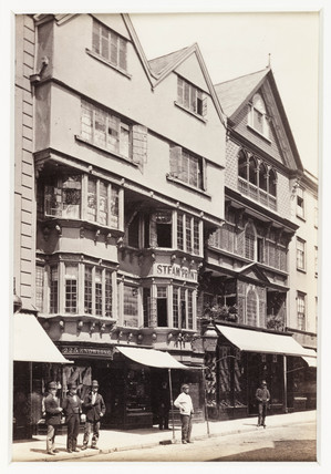 'Exeter, Old Houses in High Street', c 1880.