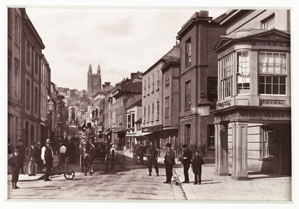 'Totnes, High Street and Seven Stars Hotel', c 1880.