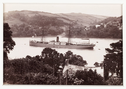 'Dartmouth, Castle Line Steamship and Warfleet', c 1880.