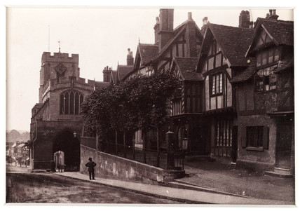 'Warwick, West Gate and Leicester's Hospital', c 1880.