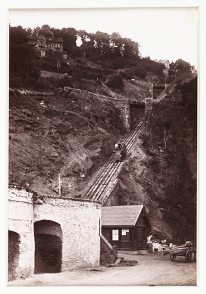 'Lynmouth, The Cliff Railway From the Esplanade', c 1890.