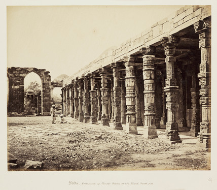 'Delhi - Colonnade of Hindoo Pillars at the Kutub, North side', c 1865.