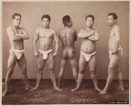 Japanese wrestlers, c 1885