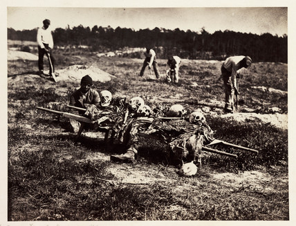 Remains of Union soldiers killed at Cold Harbor, Virginia, 1864, (April 1865).