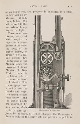 Mechanism of Maxim's light, 1880s.