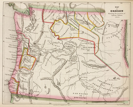 'Map of Oregon showing the location of Indian Tribes', USA, 1852.