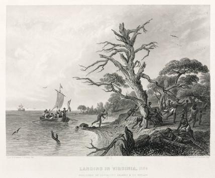 'Landing in Virginia, 1584'.