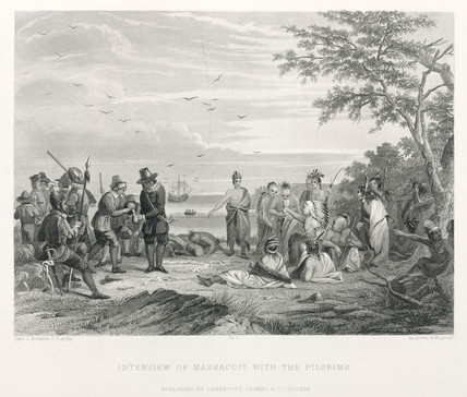 'Interview of Massacoit [sic] with the Pilgrims', North America, 17th century.