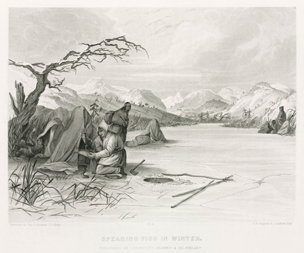 'Spearing Fish in Winter', North America, 1847.