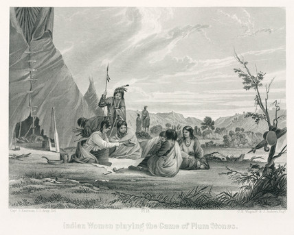 'Indian Women playing the Game of Plum Stones', North America, 1847.