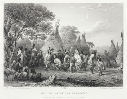 'Dog Dance of the Dahcotas' [sic], North America, 1847.