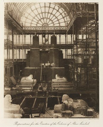 Preparing to erect Egyptian statues, Crystal Palace, London, 1911.