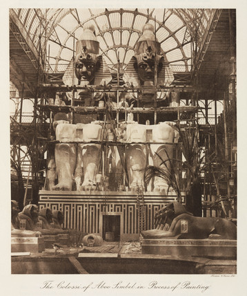 Painting the Abu Simbel colosi, the Crystal Palace, London, 1911.