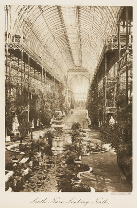 South nave looking north, the Crystal Palace, London, 1911.