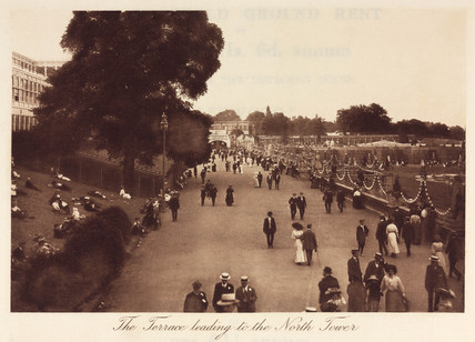 People strolling outside the Crystal Palace, Sydenham, 1911.